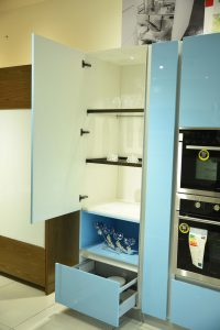 Shelf & Drawer - Sky Blue Modular Kitchen