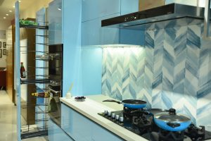 Sky Blue Modular Kitchen - Coronet Kitchens