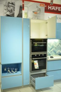 Microwave & Drawer - Sky Blue Modular Kitchens