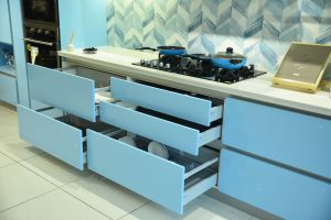 Cooking Top & Drawer - Sky Blue Modular Kitchen